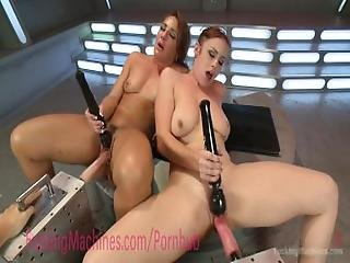 Two Sluts Squirt All Over Their Fucking Machines