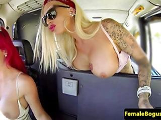 Redhead Taxi Babe Scissors With Busty Client