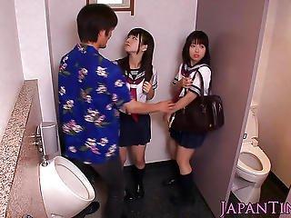 Japanese Schoolgirls Threeway Fuck With Dude