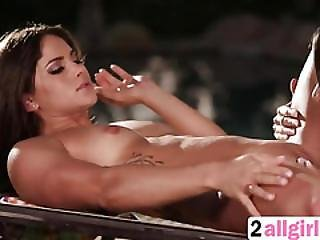 Clit Massage Lesson By The Pool Between Lesbians