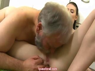 Old Guy With Beard Does A Teen In Kitchen