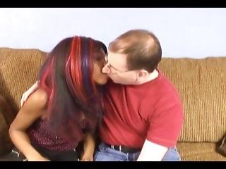 Black Girl With Glasses Fucked By Hairy Dude