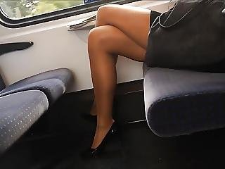 Sexy Legs Heels And Feet In Nylons Pantyhose On Train
