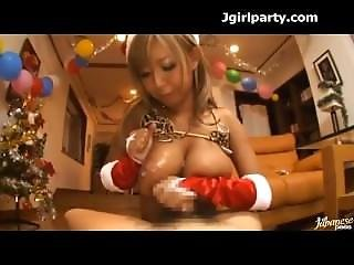 Dark Tanned Slutty Japanese Santa Chick