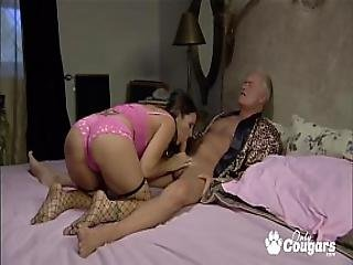 Old Dude And His Friend Dp A Sexy Younger Girl In Fishnet Stockings