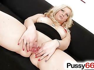 Adorable Blonde Nataly Spreading Her Fat Cunt
