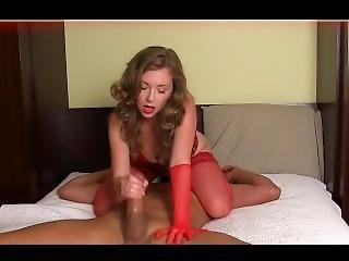 Mistresst Red Lingerie Cum Denial