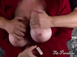 Big Natural Boobs Groped, Fondled, Oiled, & Nipple Play - Green Screen Fun