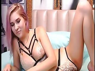 blondin, avsugning, klänning, keps, mellanrasig, nätt, Tonåring, klä av, webcam