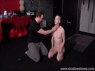 Bald Slavegirl Erynn Roses Spanking And Whipping Of Amateur Bdsm Sub In Dungeon Bondage