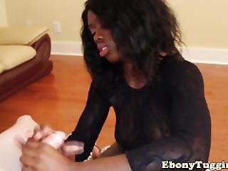 Homemade Ebony Tugging White Meat Pov