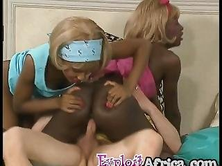 African Sluts Sharing Long White Schlong In Threeway