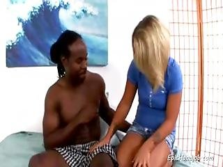 Iamporn - Blonde Cutie Strokes Big Black Cock