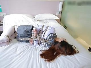 Chinese Bondage White Stockings School Uniform