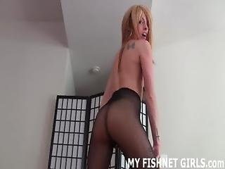 Fishnet, Jerking, Lingerie, Masturbation, Panties, Pantyhose