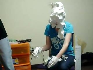 Girl Annihilated W/ Shaving Cream Pies