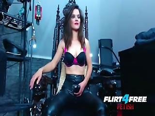 Smokin%5C%27 Hot Mistress Humiliates Slave With Strap On.