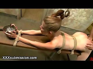 Bound To A Bench Blonde Gets Fucked In A Locker Room