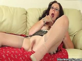 British, Dildo, Fucking, Grandma, Granny, Heels, Mature, Milf, Mom, Mother, Stocking