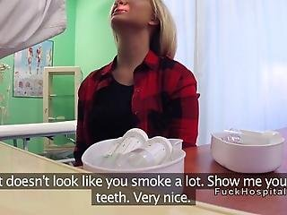 Fake Doctor Examines Sexy Blonde Euro Patient With Smoking Problem And Then Shoves His Hard Cock Into Her Pussy And Bangs Her In His Office