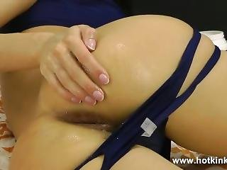 Hotkinkyjo - Tight Blue Suit And Self Anal Fisting