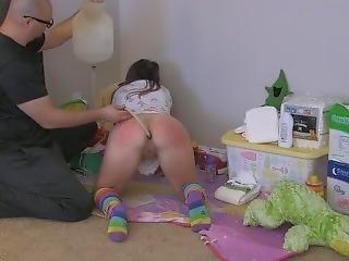 Diaper Girl Aria Gets Real Enema Messy Diaper Punishment - Abdl