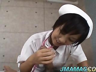 Meguru Nurse Licks Cock