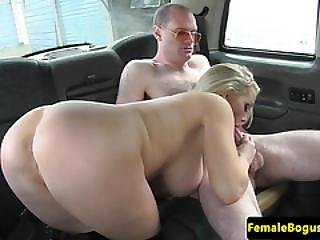 Throatfucker Taxi Passenger Cumming On Tits