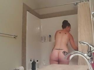 Tattooed Milf Busted In The Shower (pt1)