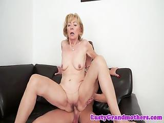 European Grandma Sucks Cock On Her Knees