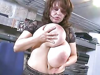 Huge Tit Business Woman Plays At Work