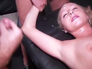 Blonde Gangbanged Bareback And Gets Loads Of Cum