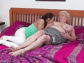 sexando, lesbianas, lamer, madura, madre, Adolescente, joven