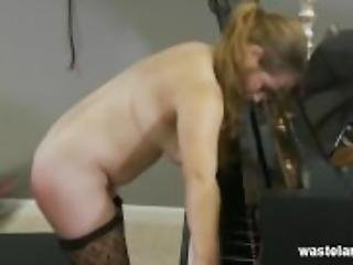 Submissive Lesbian Submits to Pleasure and Pain over Piano