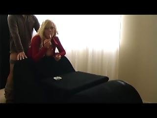 Hot Blonde In Red Smokes And Gets Fucked!!