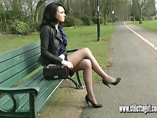 Hot Babe Teases Her Sexy High Heels And Long Legs In Tight Mini Skirt