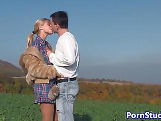 Amateur Eurobabe Doggystyle Fucked In Farm Field