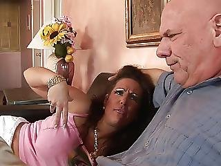 Hungry Milf With Huge Tits Rides Dudes Thick Cock On The Sofa