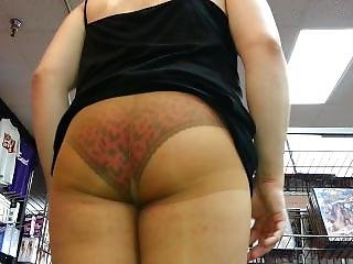 Pantyhose Upskirt Ass Tease In Porn Shop!!