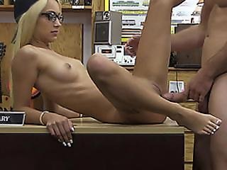 Slutty Skinny Blonde Lady Gets Her Pussy And Her Tits Sold
