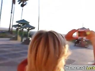 Sexy Blonde Lesbian Couple Has Had Enough Of Being Outside For The Day So They Decide To Go Home And Eat Each Others Pussies While Recording It On Their Phone