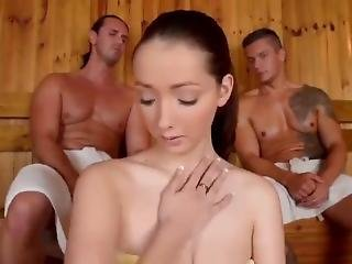 Sexy Amateur Girl With Big Boobs Gets Fucked By Two Old Men In Sauna