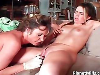 Brunette Milf Grabs Red Dildo And Slides