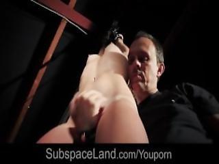 Bondage Newbie Porn Performance While Hogtied Pussy Masturbated