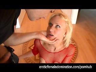 Blonde In Fishnets In The Role Of A Sex Slave
