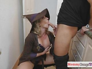 Stepmom Rides Cock While Teen Spanks Her
