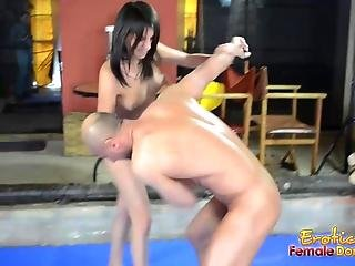 Slave Wrestles Naked With His Mistress