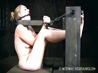 Blonde, Bondage, Clamped, Dildo, Fingering, Foot, Forced, Glasses, Orgasm, Pale, Table Fuck, Tickling, Torture, Vibrator, Whip