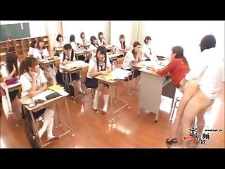 japansk, orgie, offentlig, skole, lærer