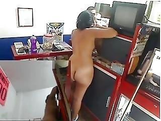 Latina Naked At Work